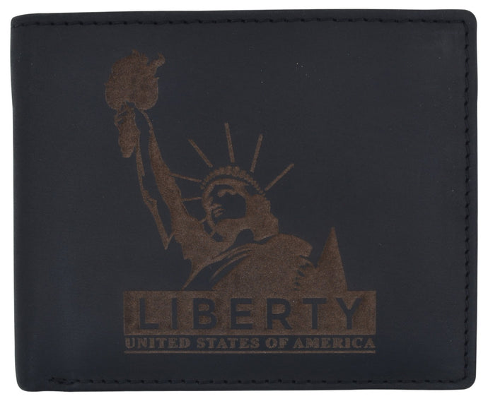 AFONiE Men's Statue of Liberty Stamped Wallet w/ RFID Technology