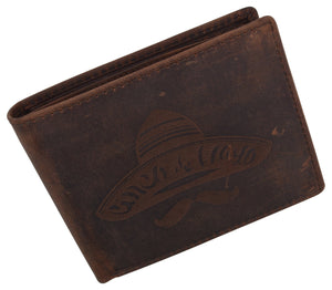 AFONiE Men's Sombrero Stamped Wallet w/ RFID Protection