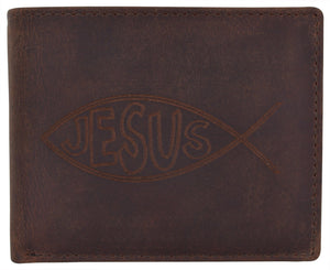 AFONiE Men's Rustic Ichthys Wallet w/ RFID Protection