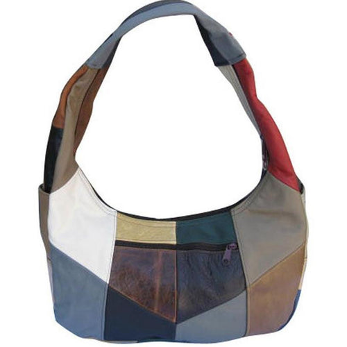 Large Top Zip Hobo Genuine Leather Rich Multi Color - WholesaleLeatherSupplier.com  - 1
