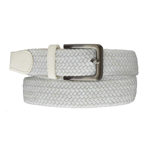 Square Silver Buckle Braided Elastic Stretch Belts
