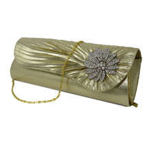 Load image into Gallery viewer, Gold Clutch w/ Diamond Rhinestone Accent