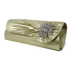 Gold Clutch w/ Diamond Rhinestone Accent
