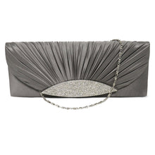 Load image into Gallery viewer, Silk Satin Pleated Clutch With Rhinestone