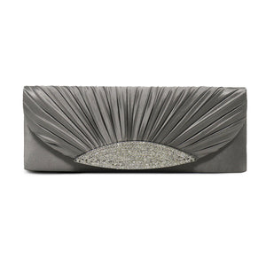 Silk Satin Pleated Clutch With Rhinestone