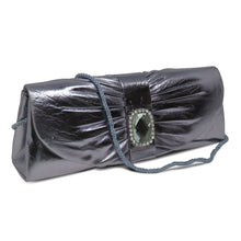 Load image into Gallery viewer, Silver Pleated Clutch w/ Rhinestone Centerpiece