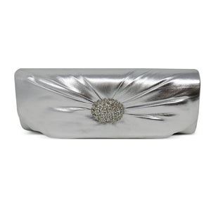 Pleated With Rhinestone Accents Silver Clutch