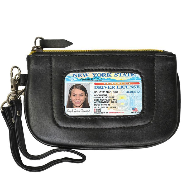 RFID Collection Premium Leather Mini Wristlet- Black Color