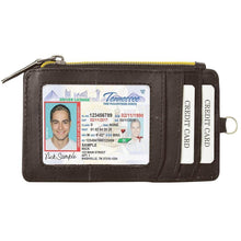 Load image into Gallery viewer, RFID Let It All Hand Brown Leather Zip Wallet