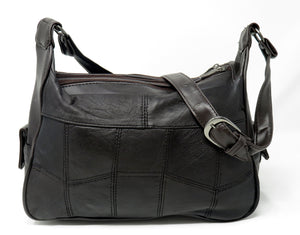 Soft Leather 3 Compartments Shoulder Purse for Women