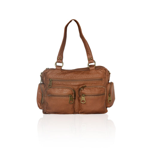 Washable Vegan Leather Series- Comfortable Shoulder/Bowling Bag - Brown