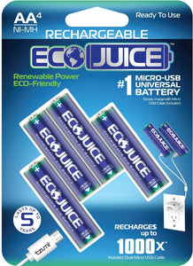 Eco Juice AA Rechargeable Batteries Micro USB Ni-MH Universal
