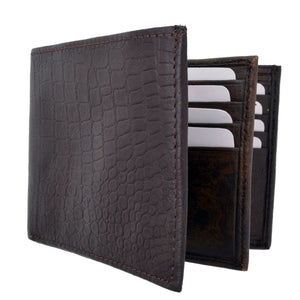 Croco Bifold Leather Wallet by AFONiE™