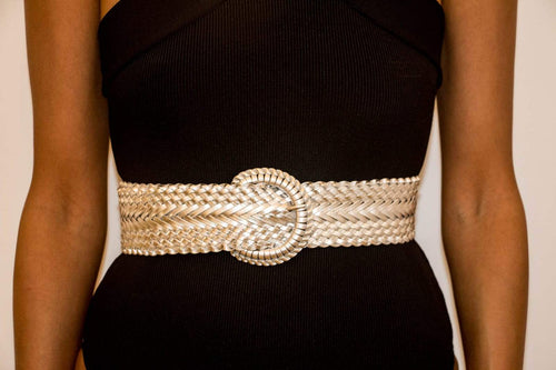 Women's Large Braided Belt with Detailed Buckle