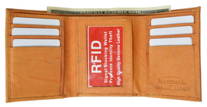 Mens Trifold Leather Wallet RFID Blocking