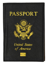 Load image into Gallery viewer, Leather USA Logo Passport Holder - Navy Blue