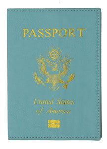 Leather USA Logo Passport Holder - Navy Blue