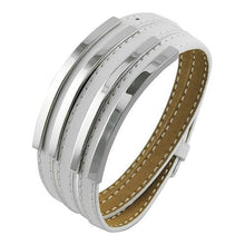 Load image into Gallery viewer, White Leather Bangle w/ Silver Accents