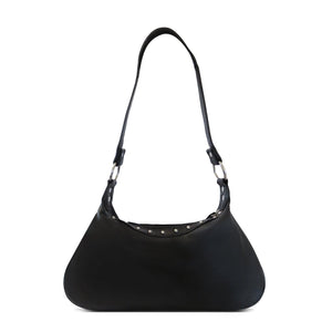 AFONiE Front Rhinestone Buckle Leather Baguette Bag
