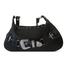 Load image into Gallery viewer, AFONiE Front Rhinestone Buckle Leather Baguette Bag