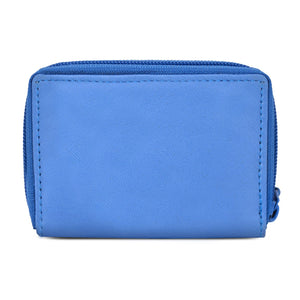Leather Cards Holder Wallet Women Blue
