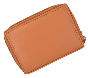 Leather Cards Holder Wallet Women Tan