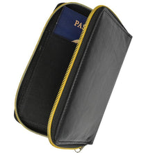Load image into Gallery viewer, RFID Black Passport Cover Travel Protected Zip Around
