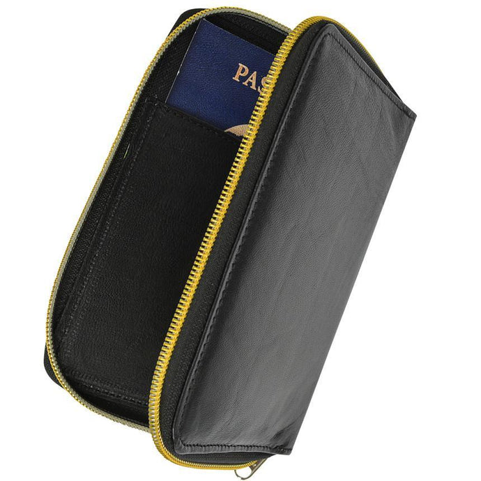 RFID Black Passport Cover Travel Protected Zip Around