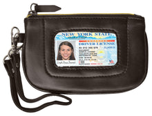 Load image into Gallery viewer, RFID Collection Brown Premium Leather Mini Wristlet