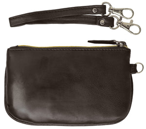 RFID Collection Brown Premium Leather Mini Wristlet