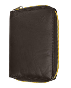 RFID Travel Zip Around Passport Cover-Brown Color