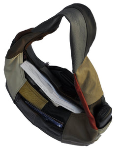 Large Top Zip Hobo Genuine Leather Rich Multi Color - WholesaleLeatherSupplier.com  - 4