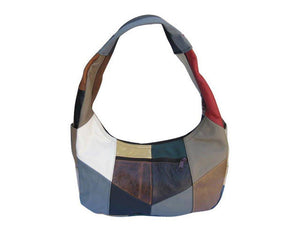 Large Top Zip Hobo Genuine Leather Rich Multi Color - WholesaleLeatherSupplier.com  - 3