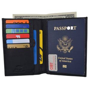 AFONiE RFID Blocking Leather Bifold Wallet/Passport Holder