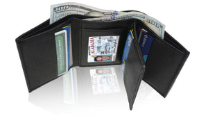 Deluxe RFID-Blocking Soft Genuine Leather Tri-fold Wallet for Men - Black - WholesaleLeatherSupplier.com  - 2