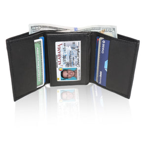 Deluxe RFID-Blocking Soft Genuine Leather Tri-fold Wallet for Men - Black - WholesaleLeatherSupplier.com  - 1