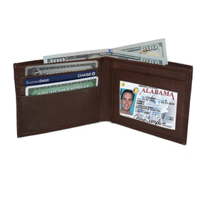 Deluxe RFID-Blocking Genuine Leather Bi-fold - Brown