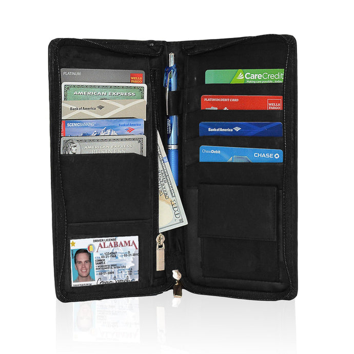Genuine RFID-Blocking Men's Leather Bifold Wallet Organizer Checkbook Card Case - Black