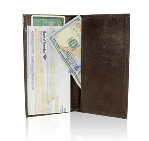 Deluxe RFID-Blocking Leather Check Book Holder - Black