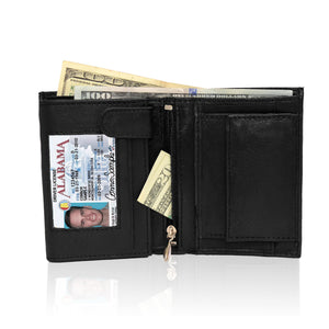 Genuine RFID-Blocking Men's Extra Capacity Leather Wallet - Black