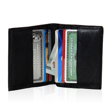 Load image into Gallery viewer, Compact RFID-Blocking Men's Multi-Card Center Flip Bifold Wallet - Black