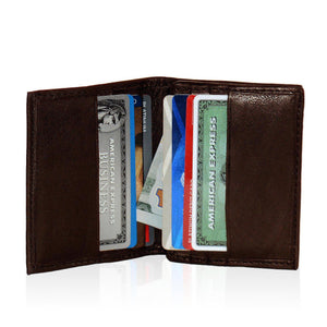 Compact RFID-Blocking Men's Multi-Card Center Flip Bifold Wallet - Brown