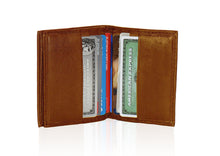 Load image into Gallery viewer, Compact RFID-Blocking Men's Multi-Card Center Flip Bifold Wallet - Brown