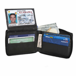 Deluxe RFID-Blocking Flip ID Zipped Soft Leather Bifold Wallet - Brown - WholesaleLeatherSupplier.com  - 5