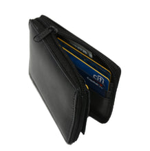 Load image into Gallery viewer, Deluxe RFID-Blocking Flip ID Zipped Soft Leather Bifold Wallet - Black - WholesaleLeatherSupplier.com  - 3