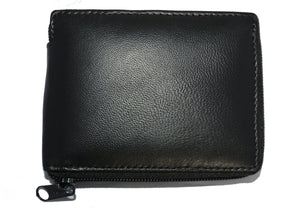 Deluxe RFID-Blocking Flip ID Zipped Soft Leather Bifold Wallet - Brown - WholesaleLeatherSupplier.com  - 8