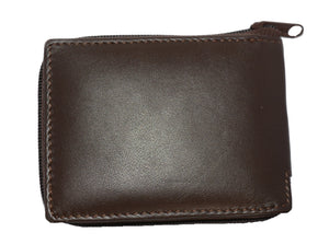 Deluxe RFID-Blocking Flip ID Zipped Soft Leather Bifold Wallet - Brown - WholesaleLeatherSupplier.com  - 4