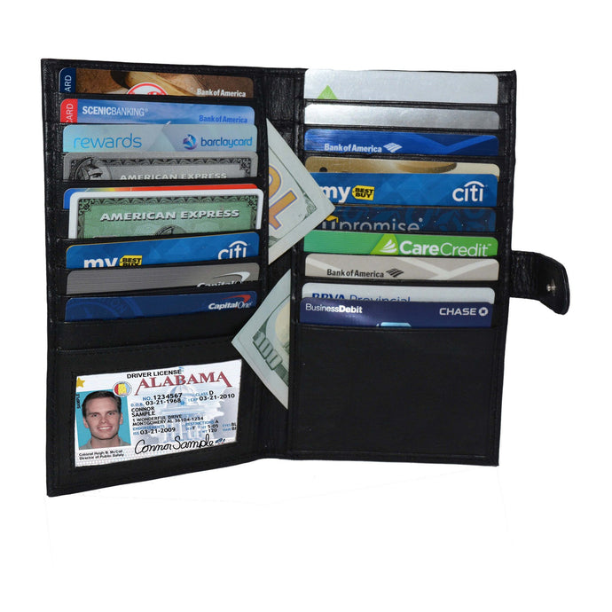 Deluxe RFID-Blocking Soft Leather Bifold with Button Closure - Black - WholesaleLeatherSupplier.com