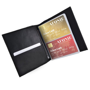 Leather Multi Credit Card Holder Men Wallet Black
