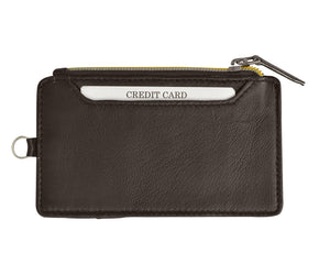 RFID Let It All Hand Brown Leather Zip Wallet